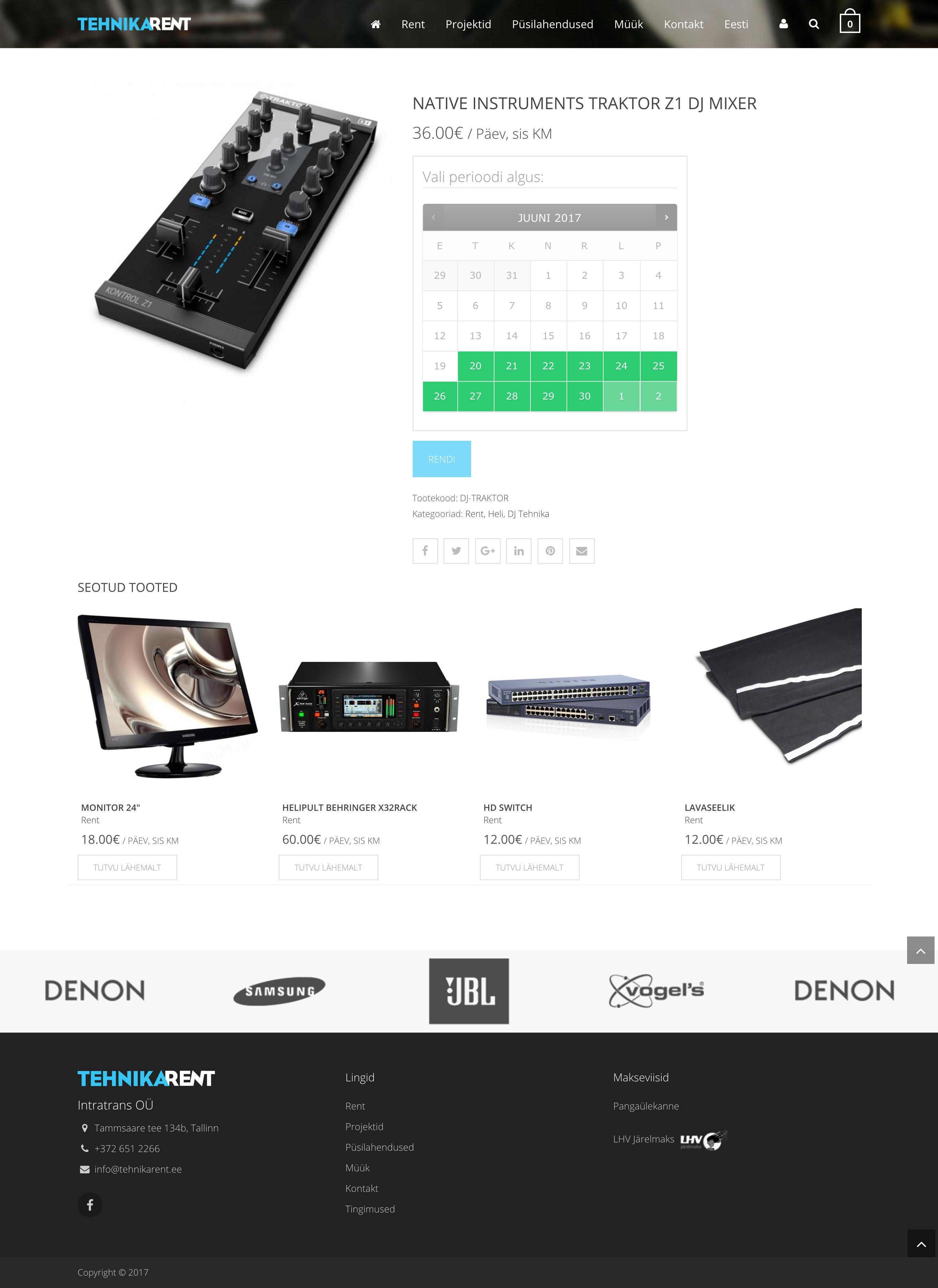 Portfolio image of Tehnikarent website